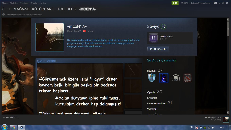 Steam Hesabı 40 Level 80 Oyun CSGO 2283 SAAT (KAÇMAZ)