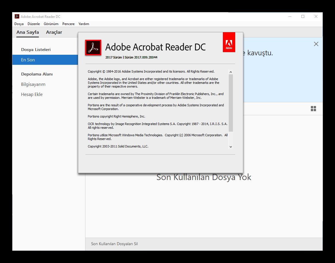 Adobe Acrobat Reader DC 2017.012.20098 TR | Katılımsız