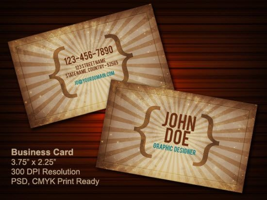 Vintage business card PSD (front & back)