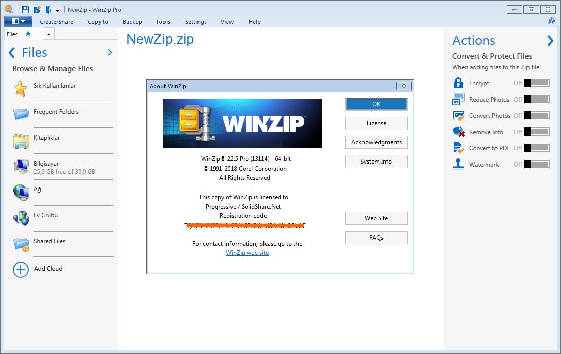 WinZip Pro 23.0 Build 13300 | Katılımsız