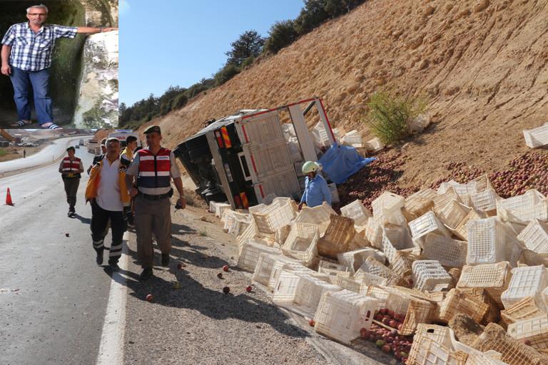 Mut'ta Elma yüklü kamyon devrildi 1 ölü