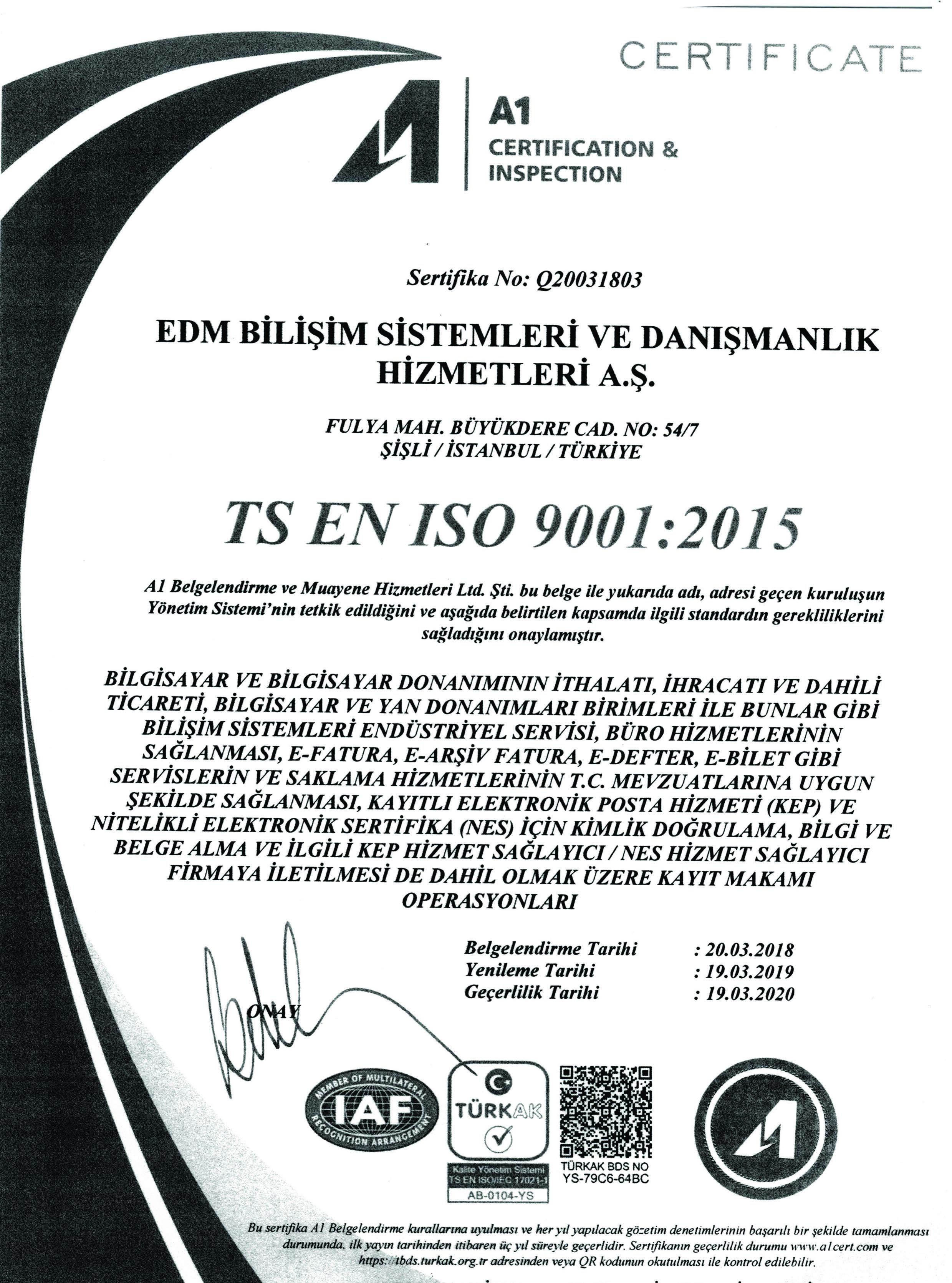 TS EN ISO 9001:2015