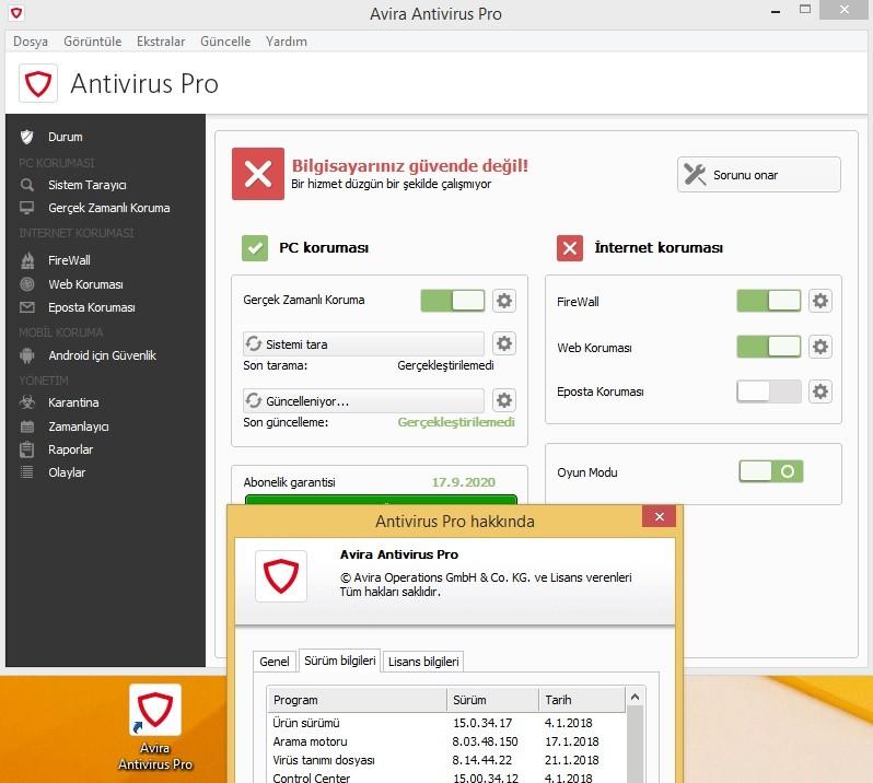 Avira Antivirus Pro 15.0.34.20 Türkçe | Katılımsız