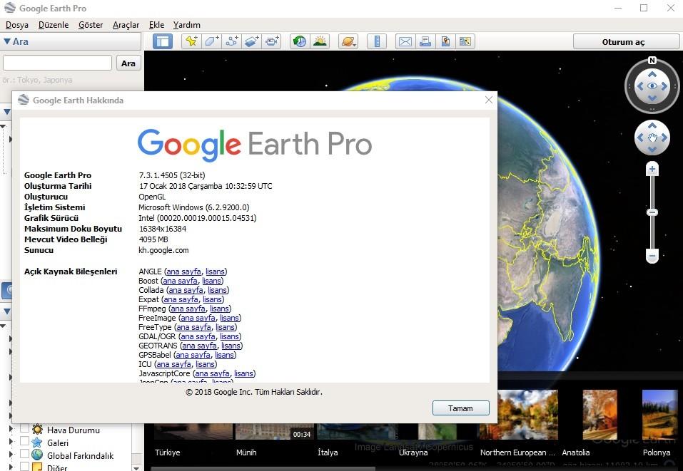 Google Earth Pro 7.3.1.4505 Türkçe | Katılımsız
