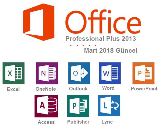 Microsoft Office Professional Plus 2013 SP1 VL - 32 Bit - 64 Bit (Mart 2018)   Katılımsız
