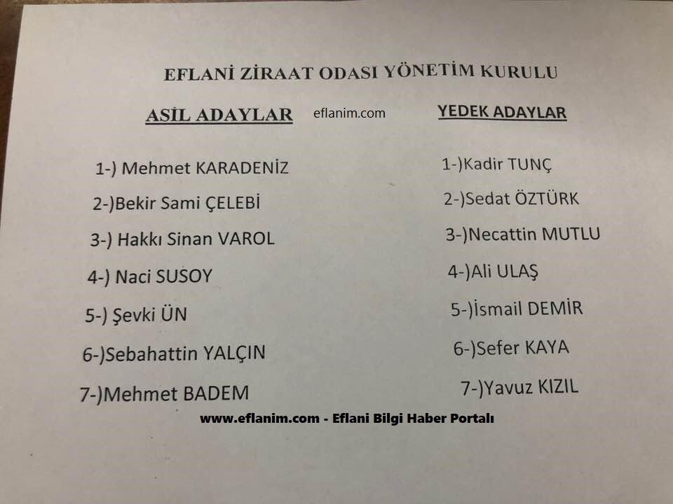Eflani Ziraat Odası Yönetim Kurulu