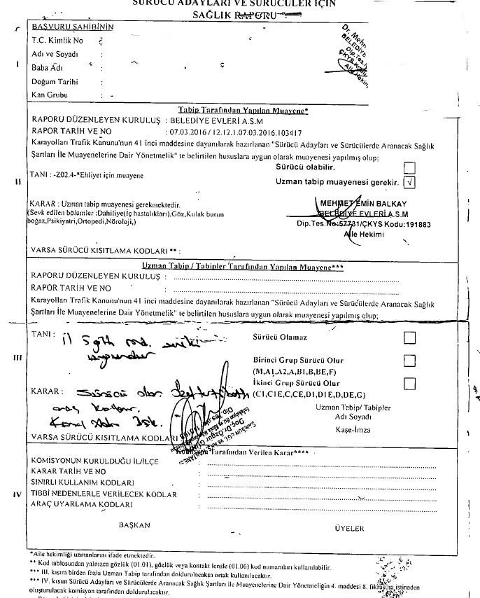 57LlQA - H sınıfı sürücü belgesi ve ÖTV'siz araç alımı için rapor paylaşımları