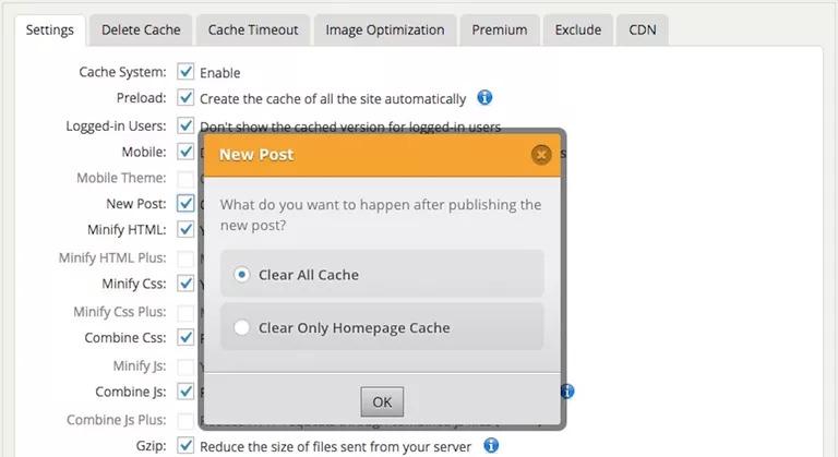 WordPress için WP En Hızlı Önbellek Ekran Görüntüsü