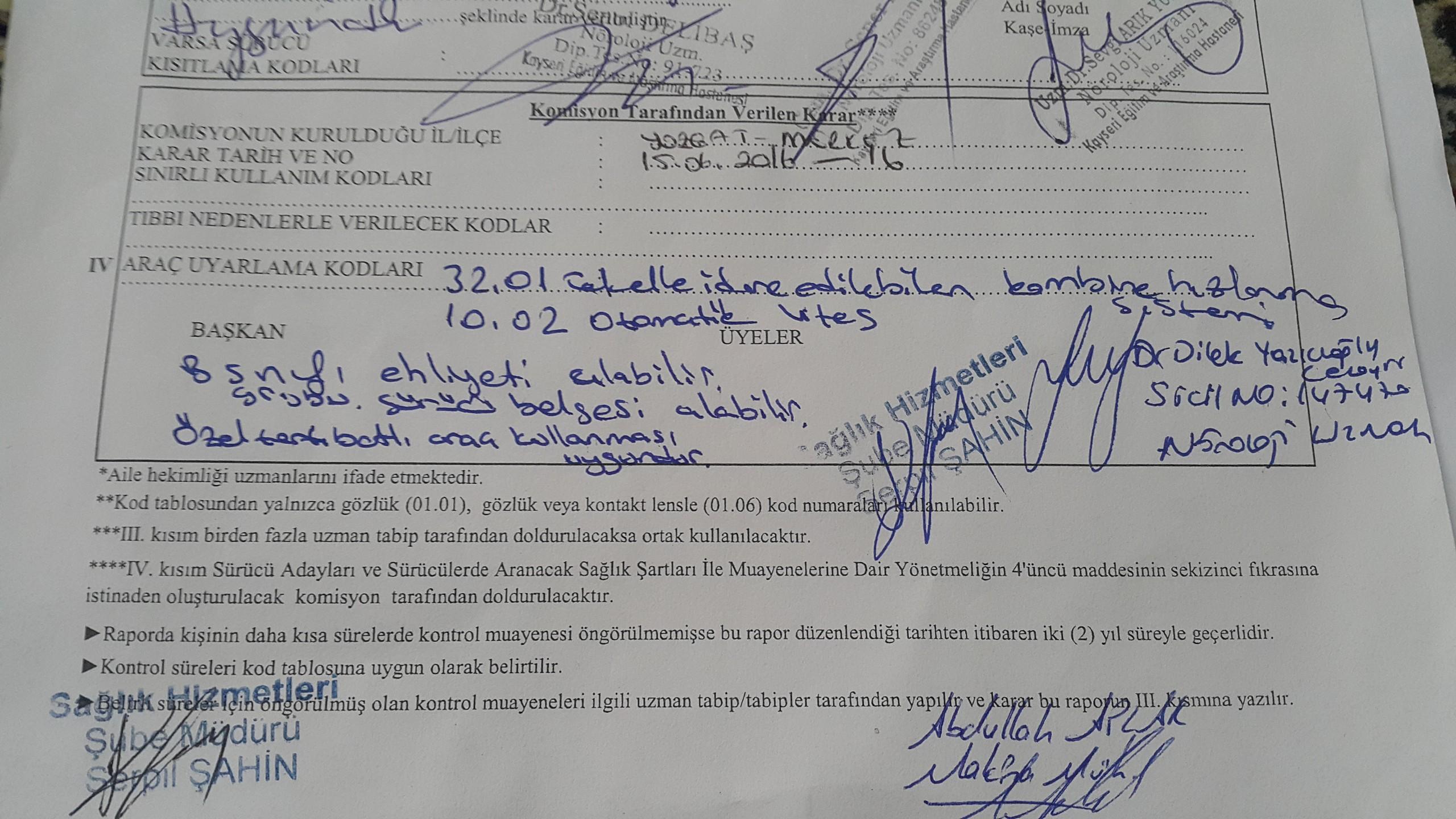 5VQb6R - H sınıfı sürücü belgesi ve ÖTV'siz araç alımı için rapor paylaşımları