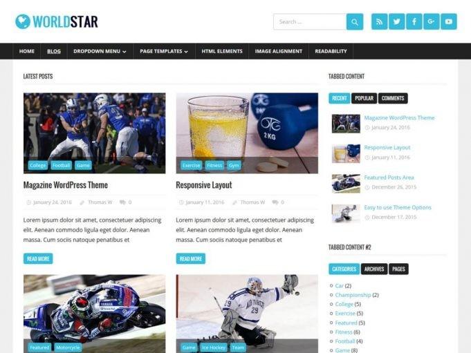 WorldStar - Ücretsiz Wordpress Teması