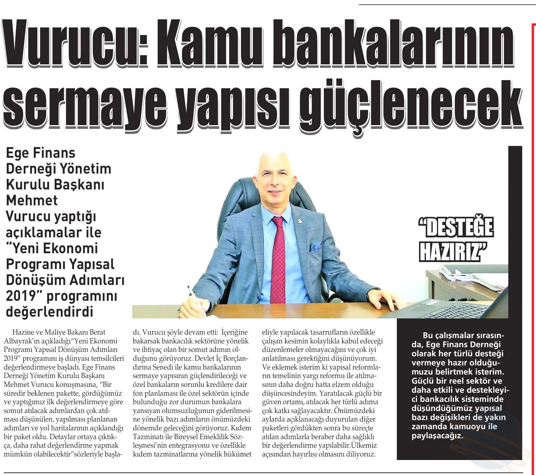 VURUCU KAMU BANKALARININ SERMAYE YAPISI GÜÇLENECEK- Yenigün (İzmir)
