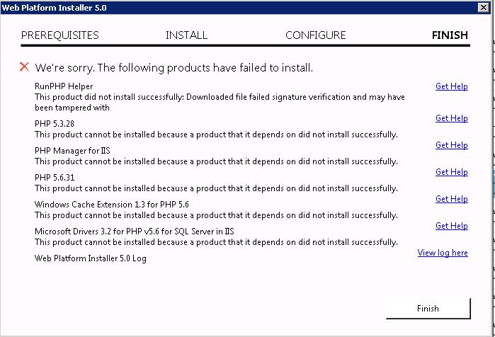 Microsoft Web plartform installer error : The Official Microsoft IIS
