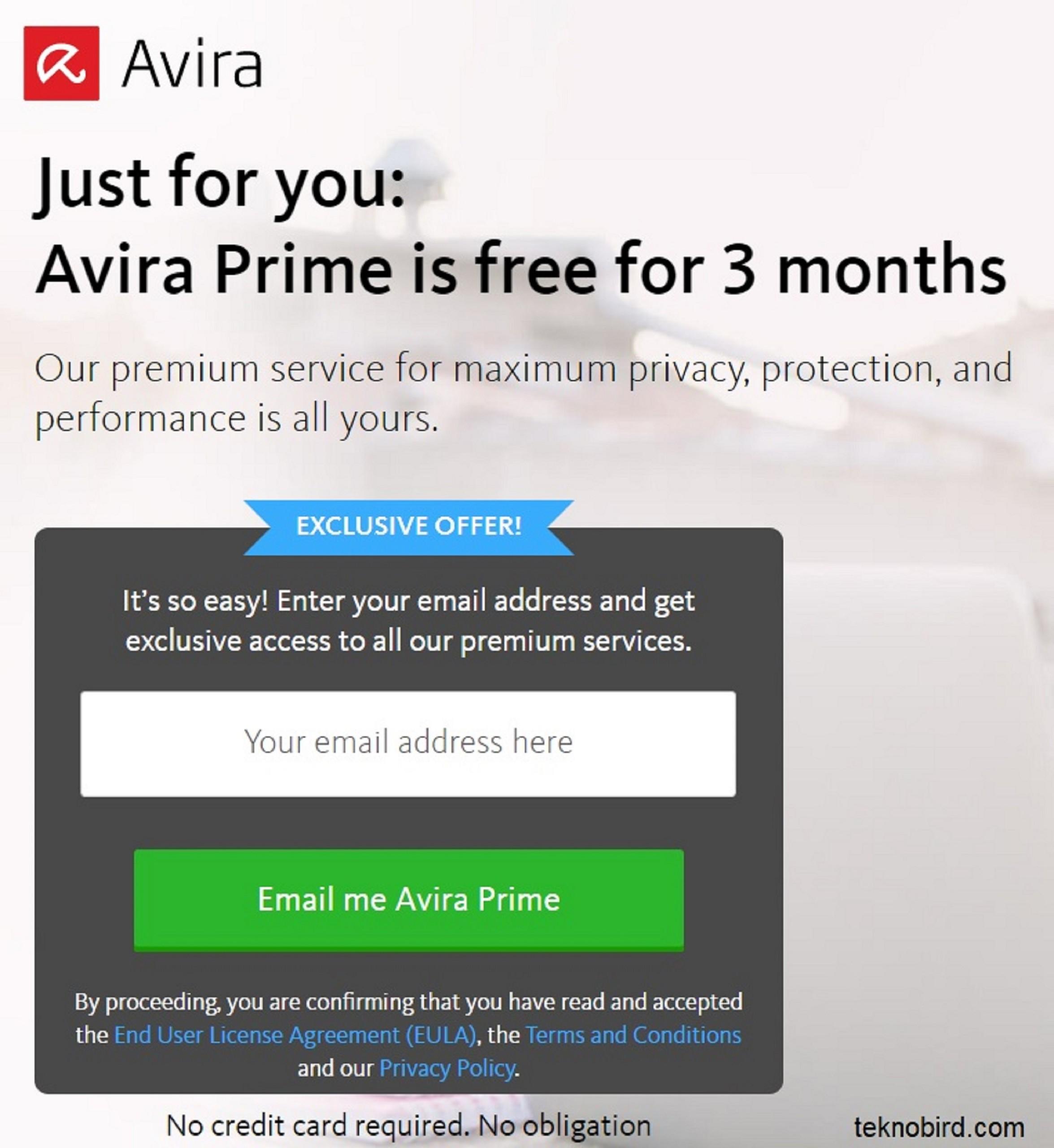 Sadece sizin için Avira Prime 3 ay boyunca ücretsiz