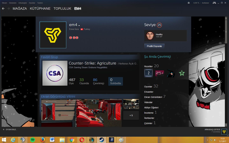 Satılık Steam hesabı 25 level  32 oyun