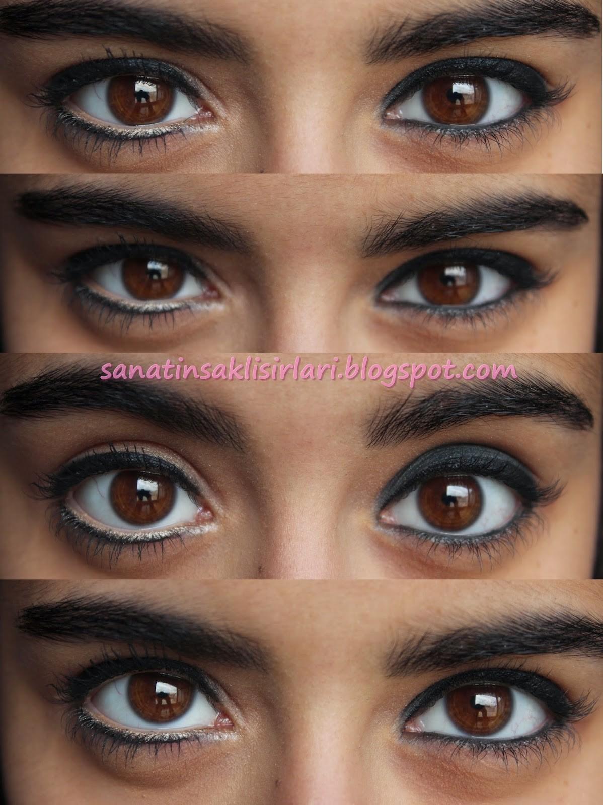 gözleri büyük gösterme makyajı resimli