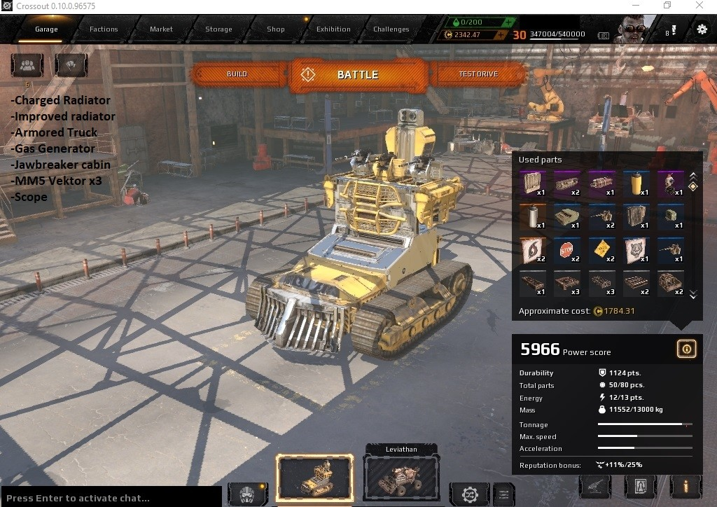 Selling - Crossout Account 5 unique car in garage and 30 ooo