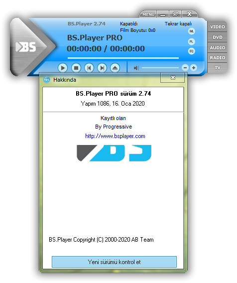 BS.Player Pro 2.74 Build 1086 | Katılımsız