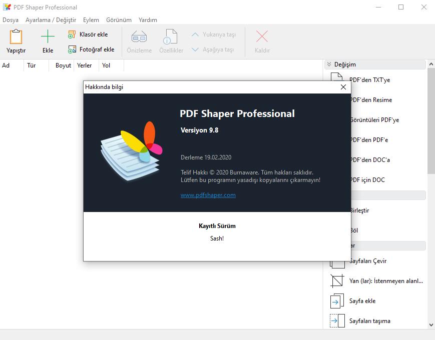 Burnaware Pdf Shaper Professional 9.8 Türkçe | Katılımsız