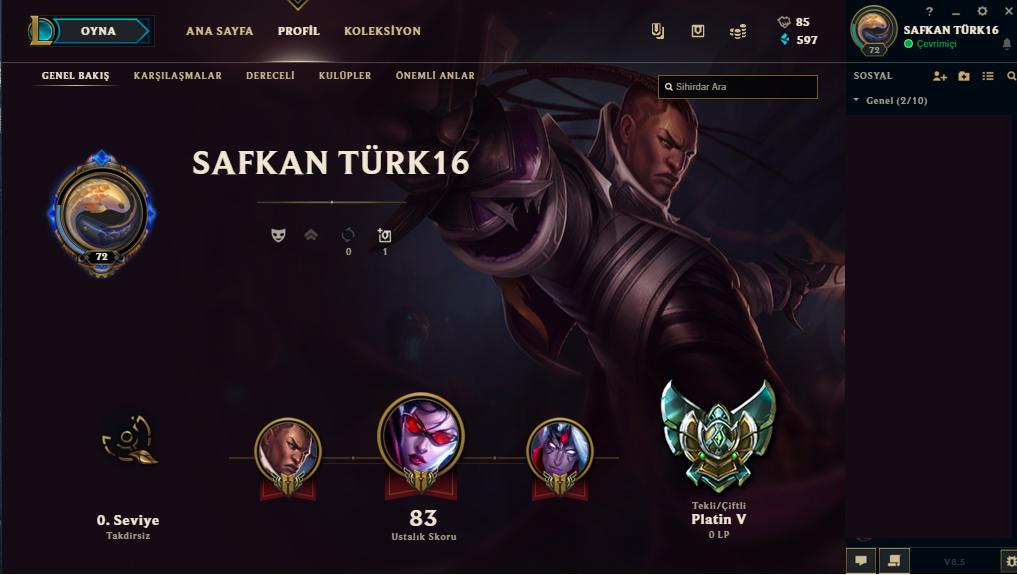 League of Legend Satılık Platin 5 Hesap - Türkiye (TR)