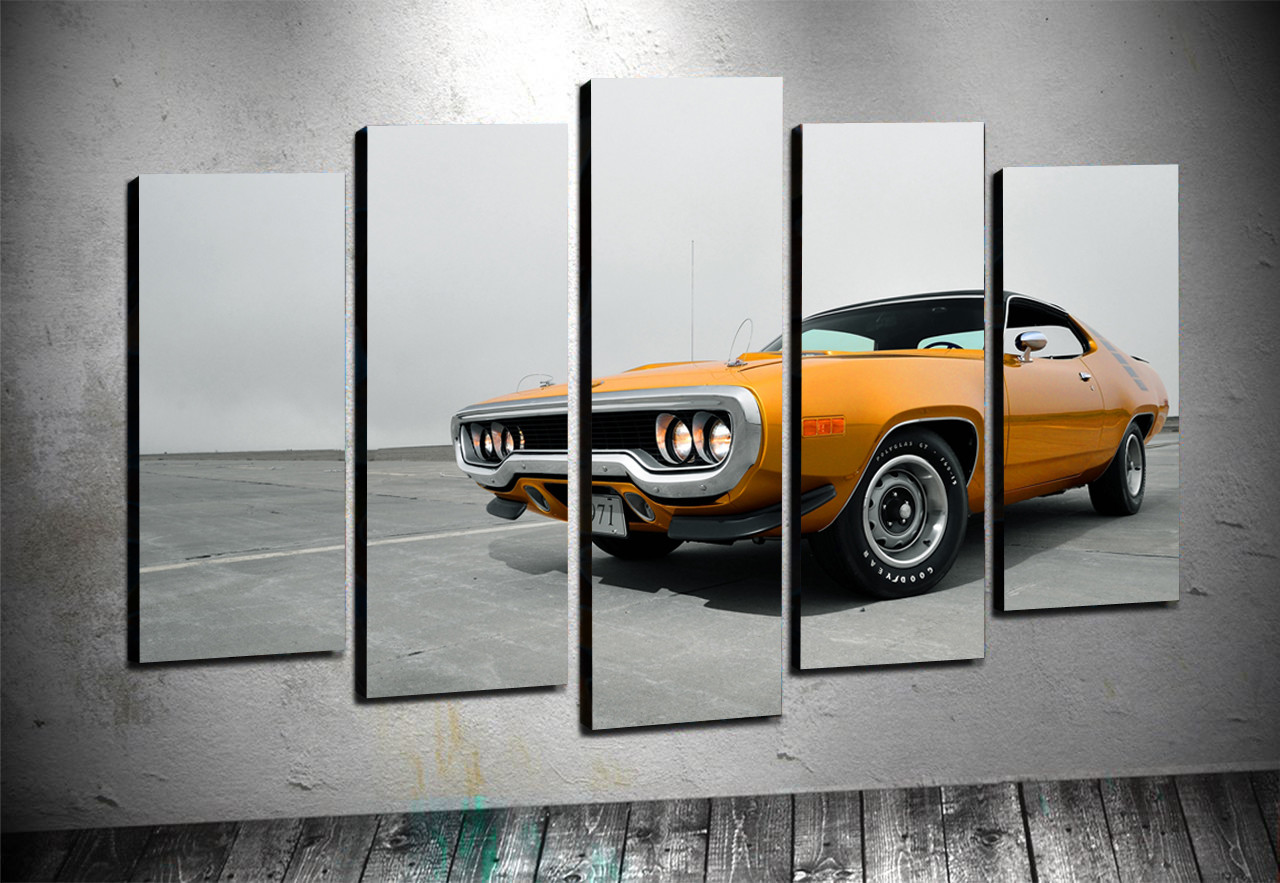5 Parçalı Kanvas - Klasik Araba