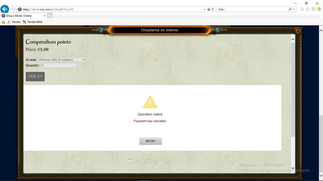Problem of Payment in All Methods - Technical Issues - Allods Online