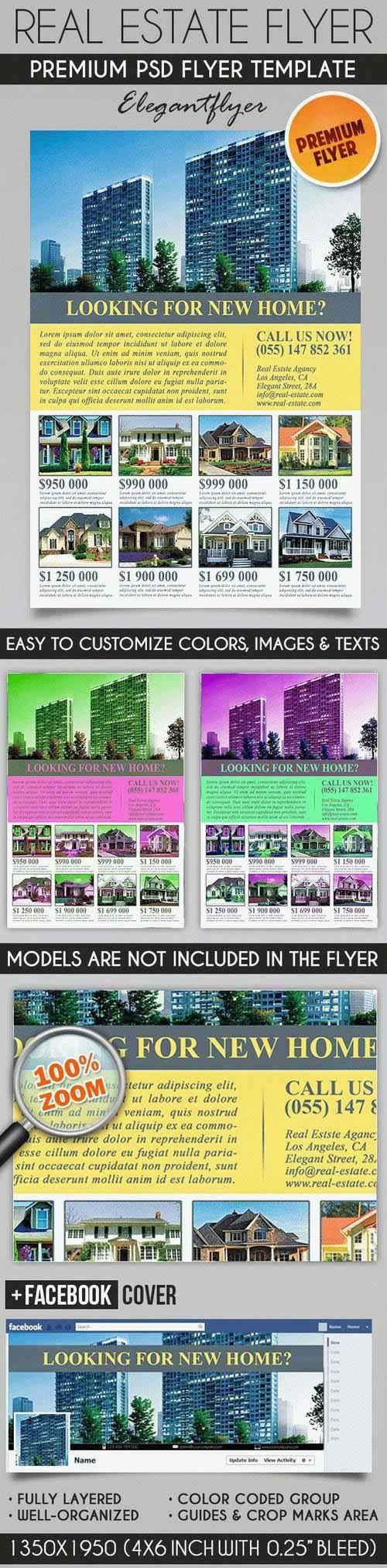Real Estate Brochure – Flyer PSD Template + Facebook Cover