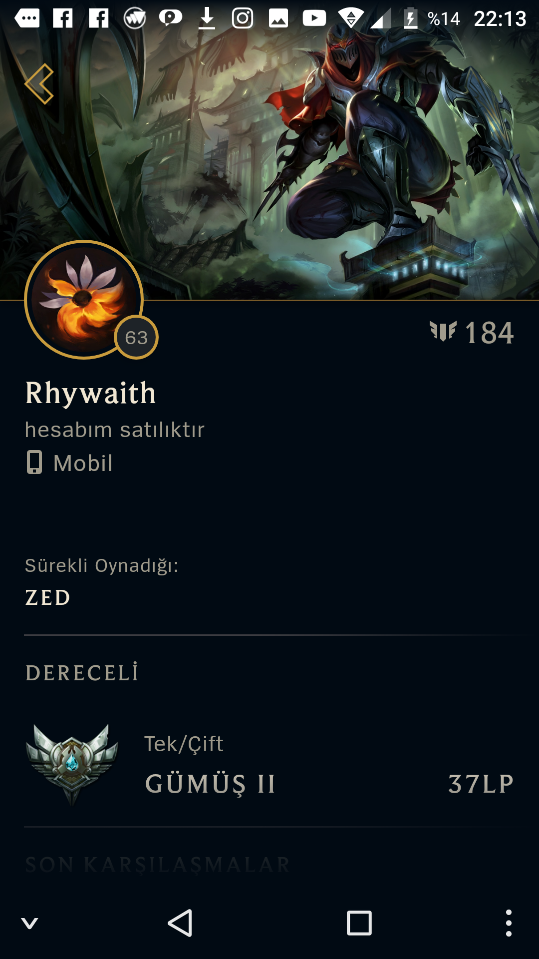 League of Legend Satılık Gümüş 1 Hesap - Türkiye (TR)