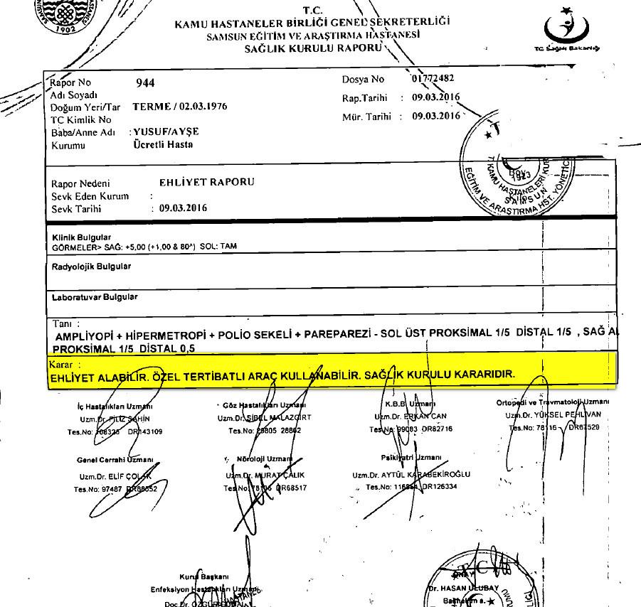 9og1W3 - H sınıfı sürücü belgesi ve ÖTV'siz araç alımı için rapor paylaşımları