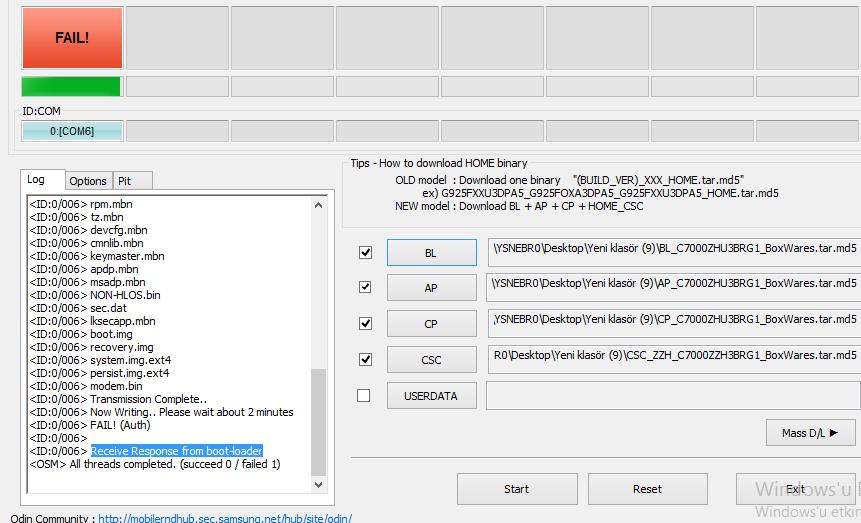 Samsung C7 Firmware Yüklerken Hata Alıyorum - R10 net
