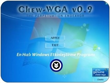 Chew-WGA - Windows 7 Aktifleştirme Programı indir