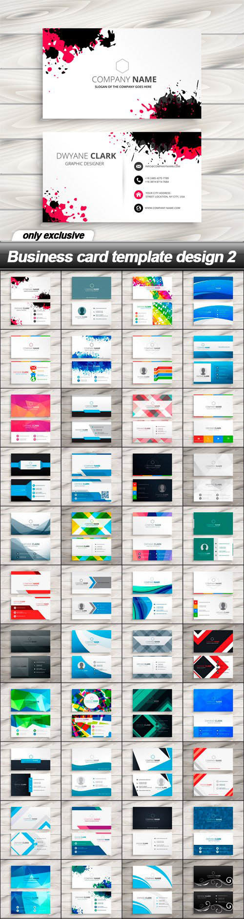 Business card vector template design 2 – 48 Files