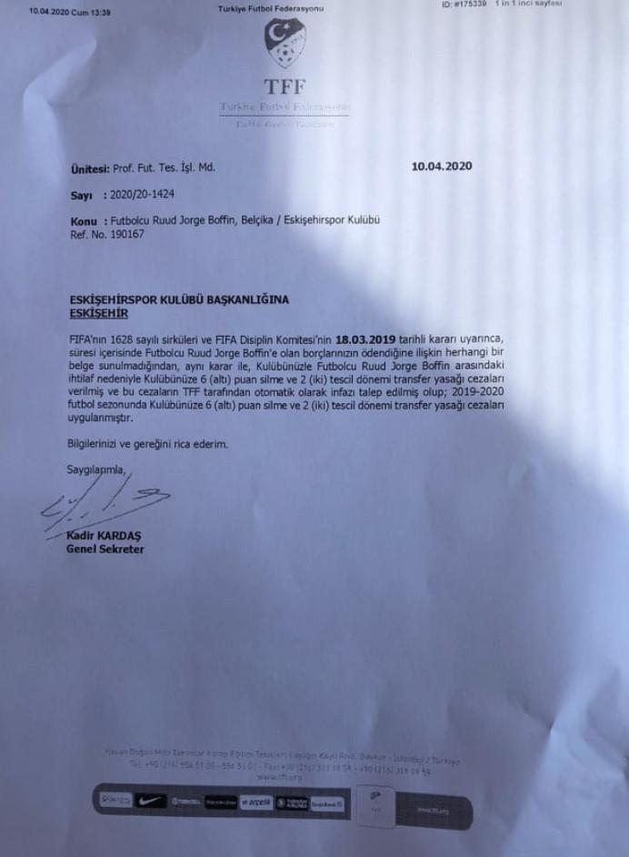 İşte Es Es'e gönderilen o belge
