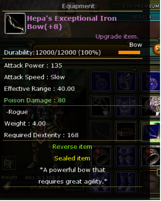 +8 hepa's excetional iron bow