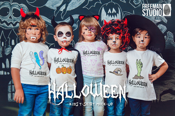 Halloween Kids T-Shirt Mock-Up PSD