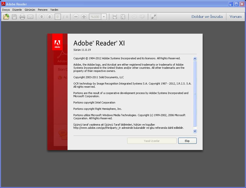Adobe Reader XI 11.0.19 Final TR | Katılımsız