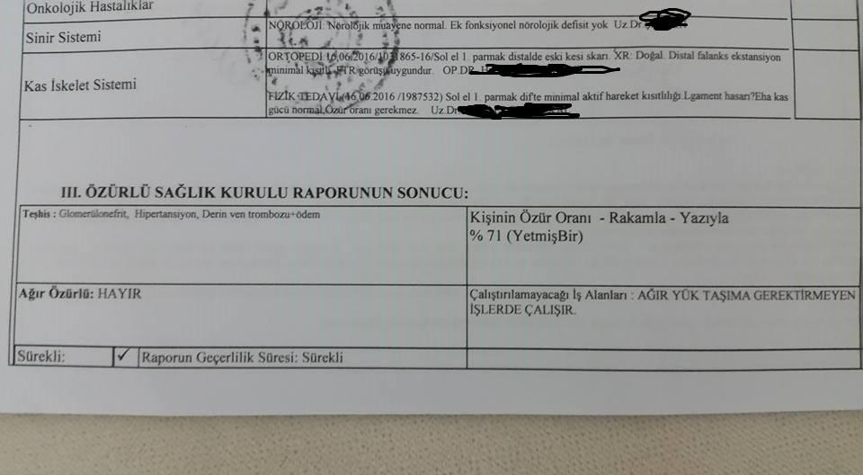 E32O9q - Membronoz glomerunefreti, Pulmoner Emboli Askerlik ve Muafiyeti Engelli raporu..?