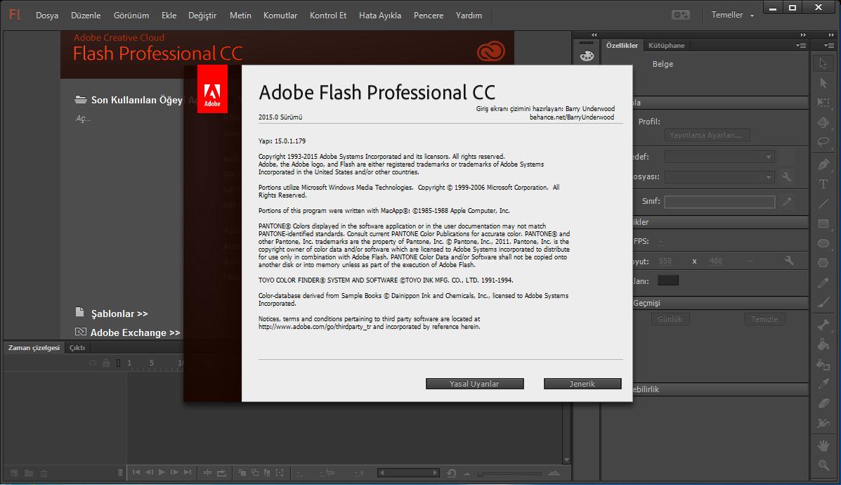 Adobe Flash Professional CC 15.0.1.179 TR (x64) | Katılımsız