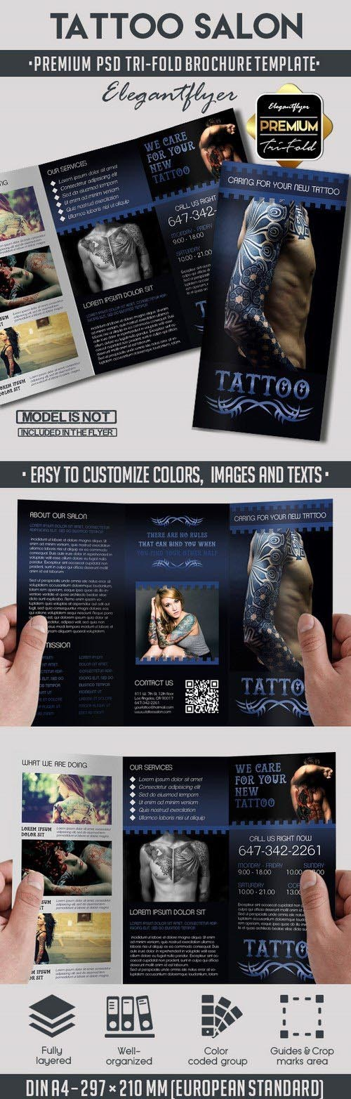 Tattoo Salon – Tri-Fold Premium PSD Brochure Template