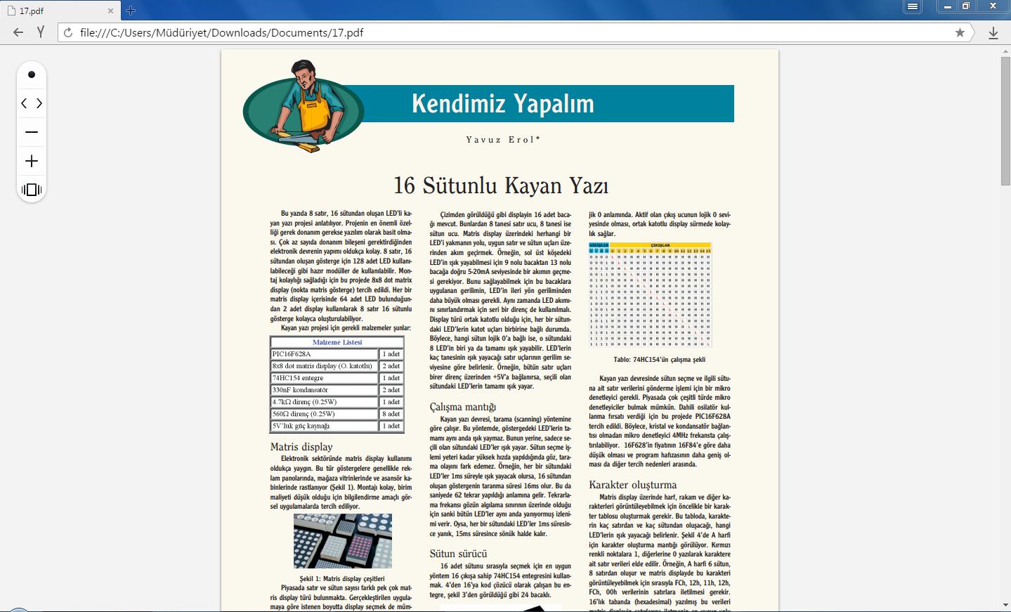 YandexBrowser için örnek pdf dosyası açma