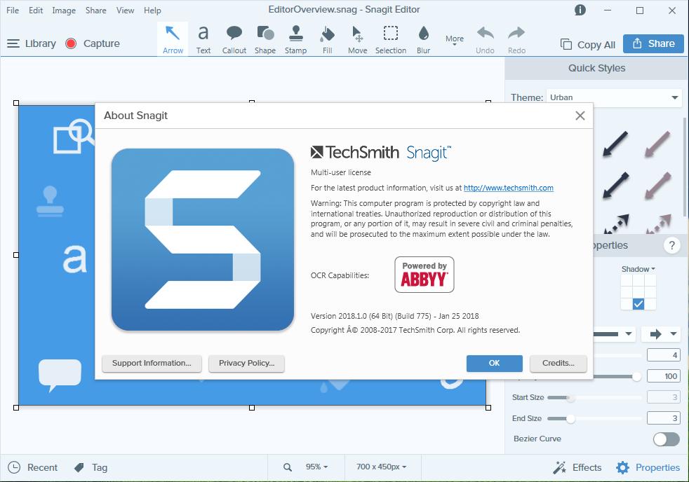 TechSmith Snagit 18.1.0 Build 775 (x64) - Katılımsız