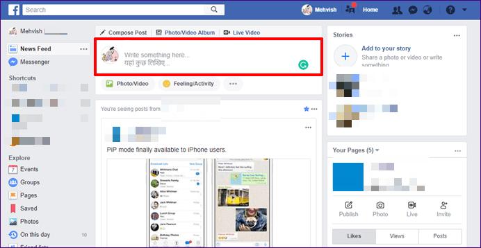 Facebook sitesini veya uygulamasını açın
