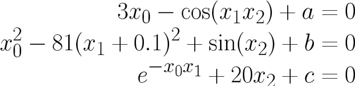 System of non-linear equations
