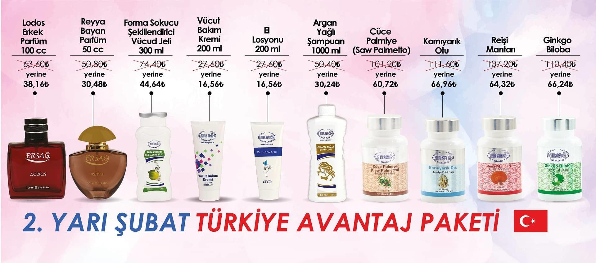 Ersağ Türkiye Şubat 2109 2'ci Dönem Avantaj Paketi
