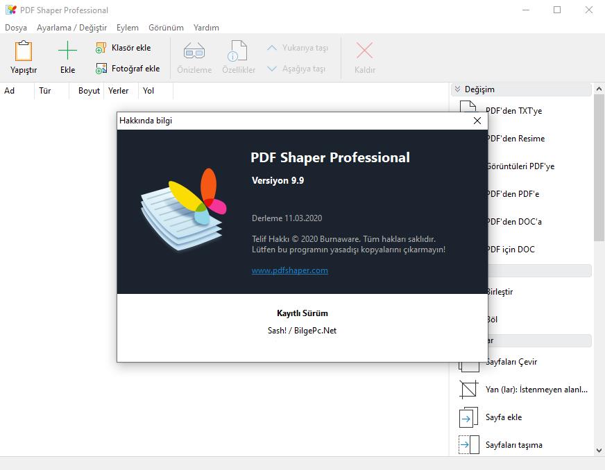 Burnaware Pdf Shaper Professional 9.9 Türkçe [x86-x64] | Katılımsız