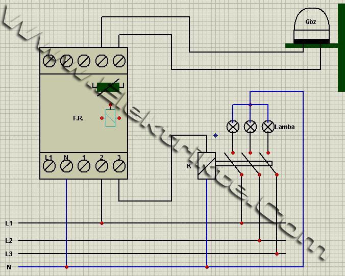 fotosel röle bağlantı şeması