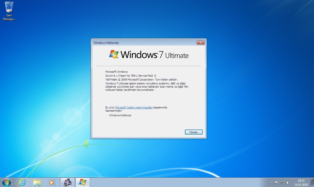 Windows 7 Ultimate Sp1 [x32 - x64] - Mart 2018 - Türkçe