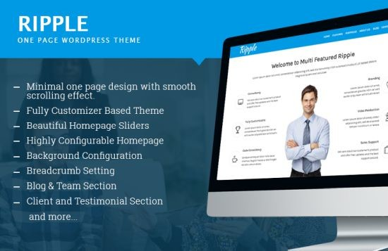 Ripple free One Page WordPress Theme