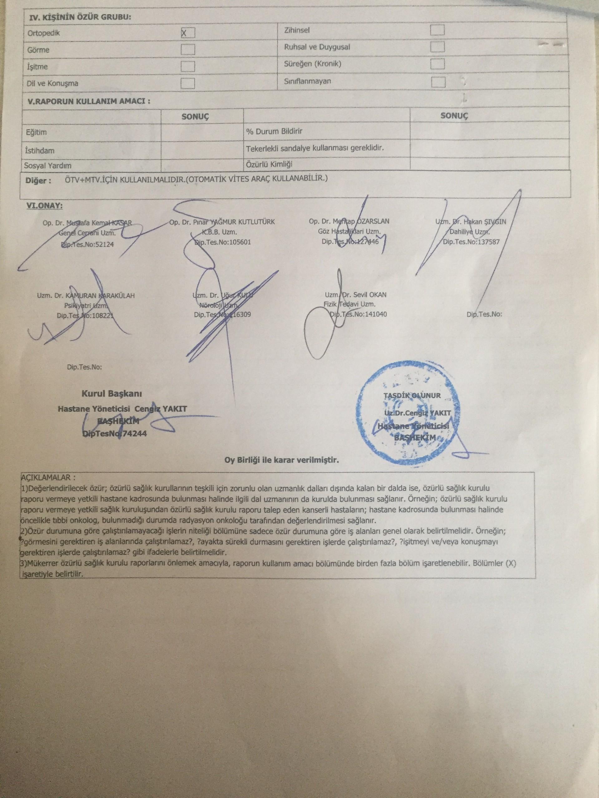 Jq2dEJ - H sınıfı sürücü belgesi ve ÖTV'siz araç alımı için rapor paylaşımları