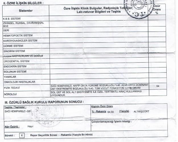 LAp3oV - H sınıfı sürücü belgesi ve ÖTV'siz araç alımı için rapor paylaşımları