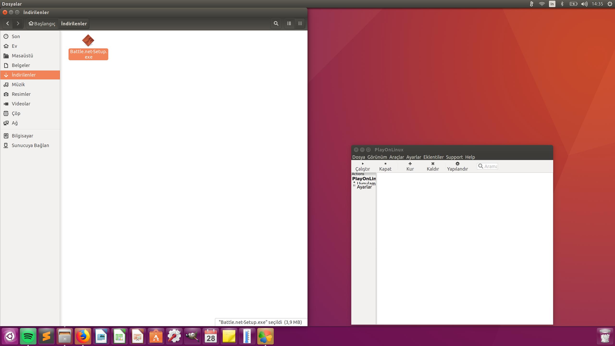 Playonlinux gorunum ve sanal surucuye exe ekleme problemleri